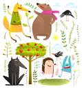 Wild Funny Forest Objects And Animals Set Royalty Free Stock Photos - 99485738