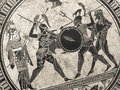 VENICE, ITALY - JULY 02, 2017: Detail From An Old Historical Greek Paint Over A Dish. Mythical Heroes And Gods Fighting On It Stock Image - 99490381
