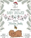 Baby Shower Invitation With Bear, Mushroom, Flowers, Leaves, Fern And Acorn. Royalty Free Stock Photos - 99499278
