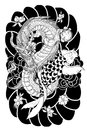 Hand Drawn Dragon And Koi Fish With Flower Tattoo For Arm, Japanese Carp Line Drawing Coloring Book Vector Image.Dragon And Koi Fi Stock Photography - 99504192