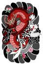 Hand Drawn Dragon And Koi Fish With Flower Tattoo For Arm, Japanese Carp Line Drawing Coloring Book Vector Image. Royalty Free Stock Images - 99504319