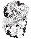 Beautiful, Colorful Koi Carp With Water Splash, Lotus And Peony Flower. Traditional Japanese Tattoo Design. Royalty Free Stock Photos - 99508368