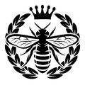 Vector Monochrome Pattern With Flying Bee And Crown Royalty Free Stock Image - 99509246