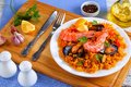 Seafood Valencia Paella On White Plate Stock Photography - 99514822