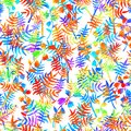 Seamless Pattern With Brush Flowers And Leaves Plant . Rainbow Watercolor Color On White Background. Hand Painted Grange Royalty Free Stock Image - 99514956