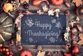 Happy Thanksgiving Card Design With Blackboard And Fall Decorati Royalty Free Stock Images - 99522929