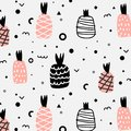 Geometric Flat And Cute Hand Drawn Pineapples Pattern. Stock Image - 99560051