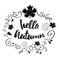 Typographic Banner With Phrase Hello Autumn In Black Abstract Ornament And Maple Leaves Stock Photo - 99565170