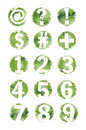 Green Grunge Textured Number And Symbol Set- 1-9 Royalty Free Stock Images - 9965919