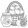 Autumn Vector Coloring Page For Adults. Black And White Background Silhouette. Harvest Of Ripe Applesapples, Pomegranates And Hone Stock Image - 99633051
