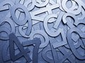 Blue Metal Texture Numbers Stock Image - 99691641