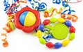 Colorful Baby Rattle And Teething Ring Royalty Free Stock Photography - 9976267