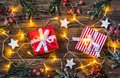 Christmas Presents With White Wooden Stars And Lights. Stock Image - 99712141