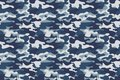 Horizontal Banner Seamless Camouflage Pattern Background. Classic Clothing Style Masking Camo Repeat Print. Blue, Navy Stock Photos - 99714963