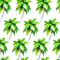 Watercolor Palmtree Seamless Pattern, Bright Hand-drawn Background. Stock Images - 99759984