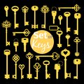 Antique And Modern Gold Keys Set Royalty Free Stock Photo - 99767755
