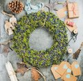 Christmas Wreath, Wooden Toys And Materials For Making Decoration Stock Photo - 99790370