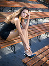 Girl On The Bench Royalty Free Stock Images - 9984399