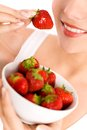 Woman Eating Strawberries Stock Image - 9987541