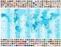 World Map Time Zones And All World Flags Collection Stock Photo - 99851400