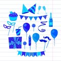 Flat Vector Icons Celebration Party Carnival Festive Icons Set. Colorful Symbols And Elements - Mask, Gifts, Presents Royalty Free Stock Photo - 99883495
