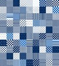 Blue And White Patchwork Quilted Geometric Seamless Pattern, Vector Set Royalty Free Stock Photo - 99891725