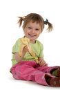 Little Girl Eats A Banana Royalty Free Stock Photos - 9990478