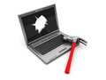 Laptop With Hole In Screen Royalty Free Stock Photo - 9993965