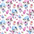 Watercolor Seamless Pattern. Ballet Girls With Sweet Cakes. Dancing Princesses. Teenager. Celebration Birthday Party Royalty Free Stock Photography - 99974837