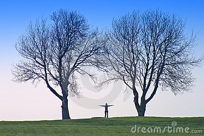 Human shape and trees