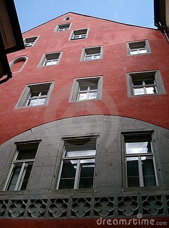 Red building with windows