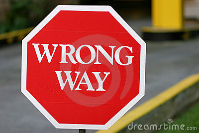 Red Wrong Way Sign
