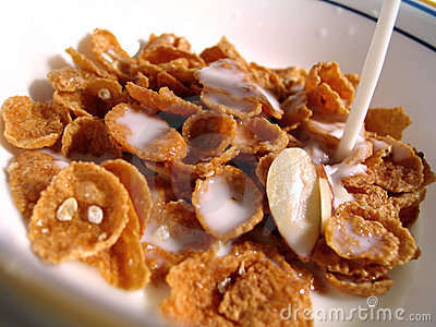 Cereal, Milk Pouring In