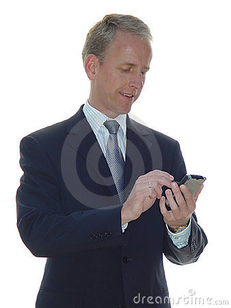 Smiling business man with PDA
