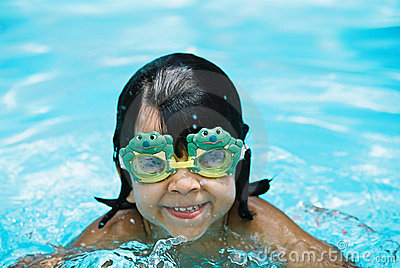 Little girl with frog goggles