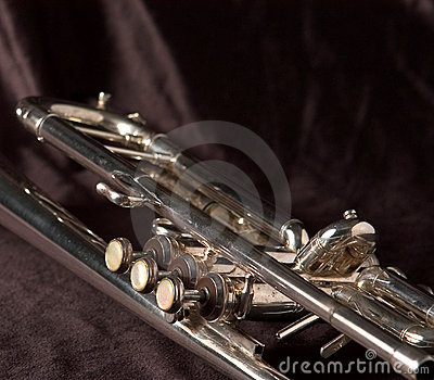 Trumpet valves on black