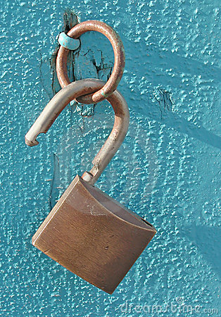 Open lock on blue
