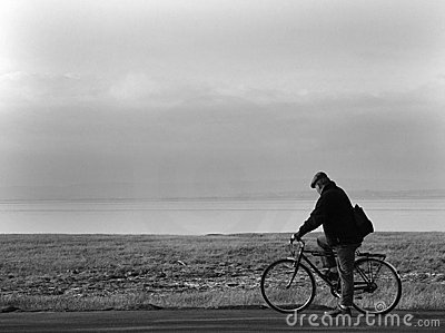 Old man and bicycle