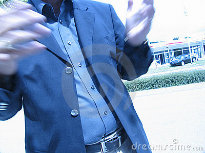 Businessman's hands talk blur
