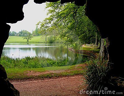 Cave and lake