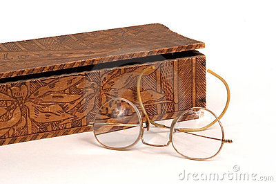 Glove box and antique glasses