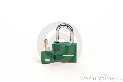 Green lock with Key