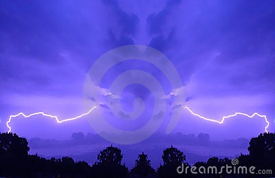 Purple sky with lightning