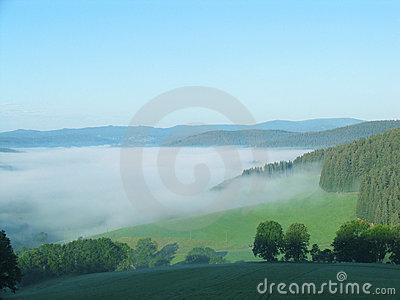 Sea of fog in the mountains