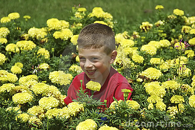 Child in Flower Bed