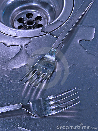 Forks in a sink