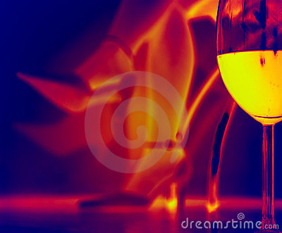 Romantic evening with a glass of wine - Infrared