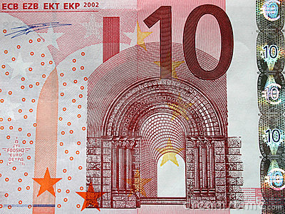 10 Euros bill close-up, detail