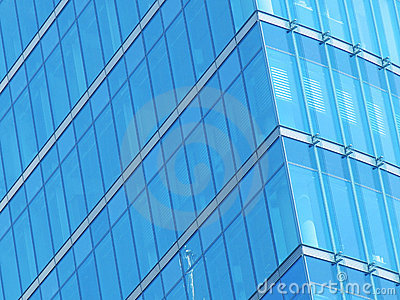 Blue building glass facade