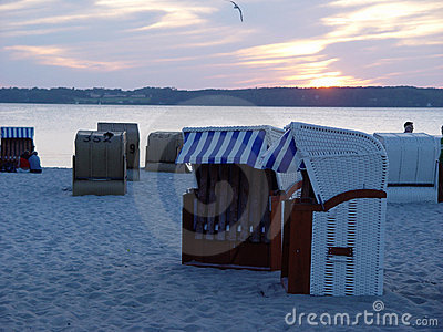 beach baskets in the evening